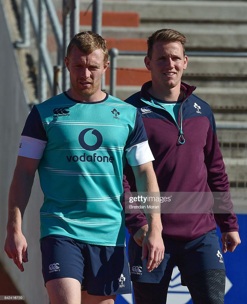 Port Elizabeth South Africa 23 June 2016 Keith Earls left and Craig Gilroy of Ireland before rugby squad training at the Nelson Mandela Metropolitan...