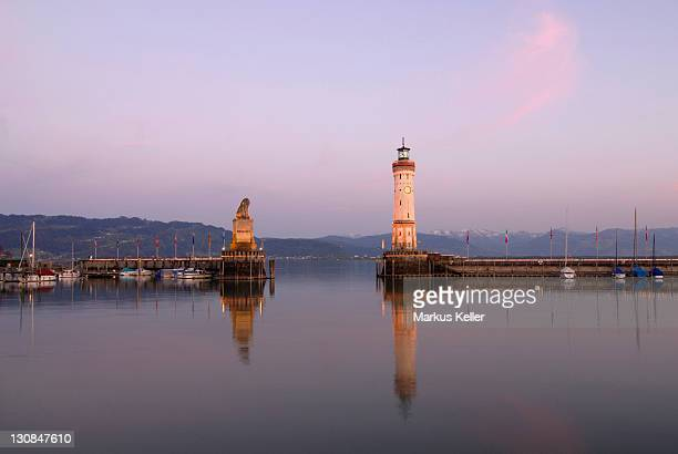 Port Entrance of Lindau - Lake Constance, Bavaria, Germany, Europe.