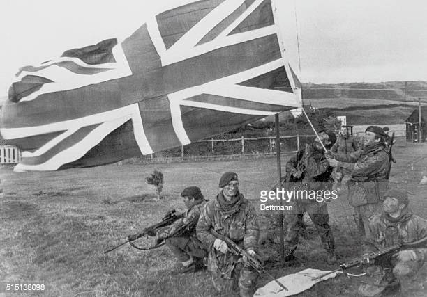 Port Howard West Falkland This photo released today by the British Government source Ministry of Defense shows the Union Flag flies over Port Howard...