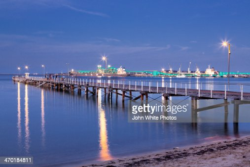 Port Lincoln town jetty at dusk