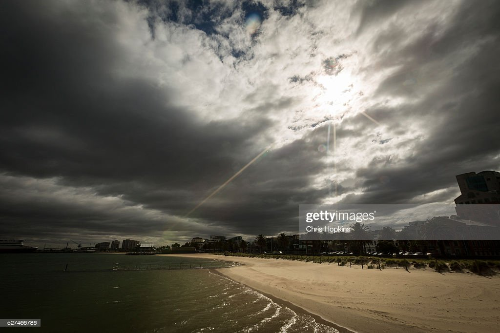 Port Melbourne beach as a storm front approaches on May 3, 2016 in Melbourne, Australia. Wind gusts of up to 100km per hour are expected in Melbourne and parts of southern Victoria as part of a deep cold front moves across the state.