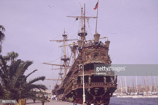 Port of Barcelona Reconstitution lifesize of a galleon used by Roman Polanski for his film 'Pirates' 1991