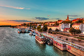 Concrete ship in Belgrade's port and sunset. HDR image