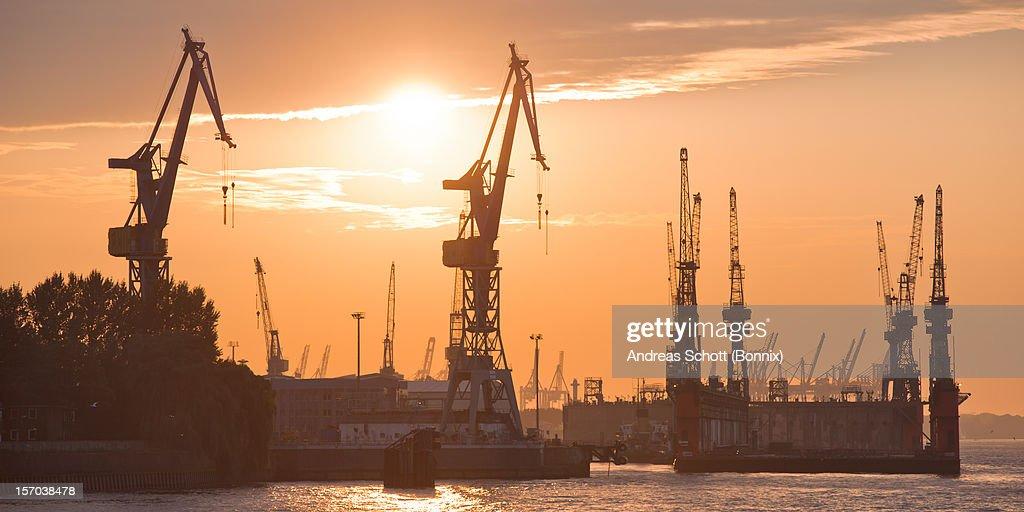 Port of Hamburg at sunset : Stock Photo