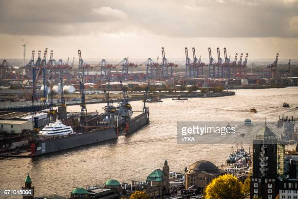 Port of Hamburg, River Elbe, Shipyard, Container Terminal