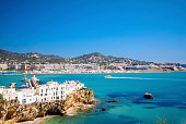 Port and Coastline of Ibiza Town in the Balearic Islands of Spain.