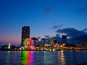 Kobe mosaic of the dusk seen from Naka Pier in the Kobe harbor