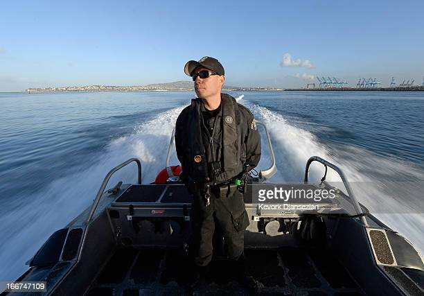 Port of Los Angeles Police officer Angelo Cumpian aboard a 31foot Safebaot heads out to the pacific ocean during a patrol of Port of Los Angeles on...