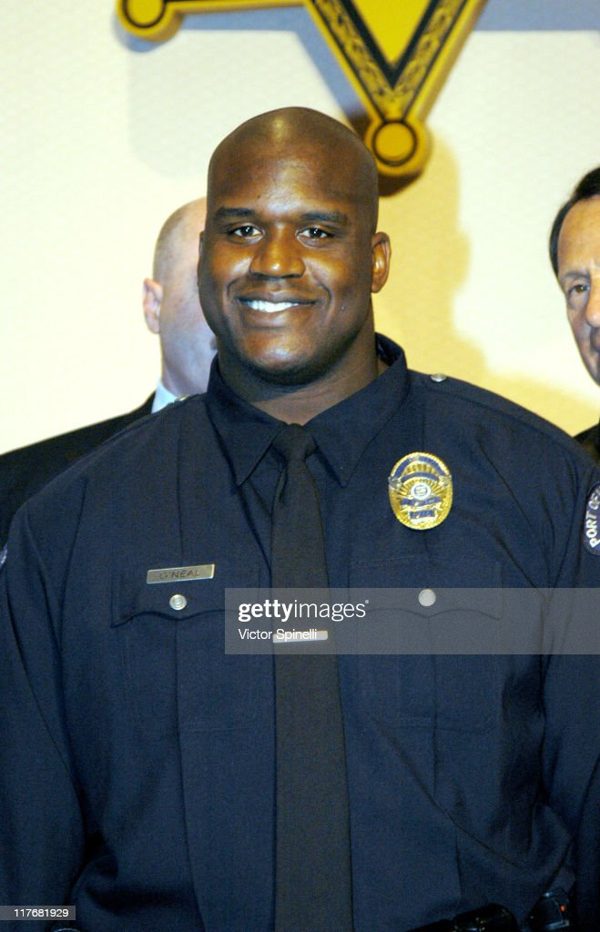 Port of Los Angeles Police Reserve Officer <a gi-track='captionPersonalityLinkClicked' href=/galleries/search?phrase=Shaquille+O%27Neal&family=editorial&specificpeople=201463 ng-click='$event.stopPropagation()'>Shaquille O'Neal</a>