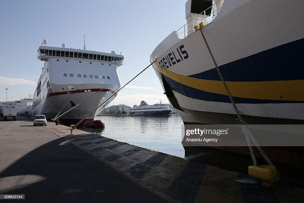 Port of Piraeus is seen empty as nationwide strike starts against planned pension and tax reforms, in Piraeus, Greece on May 6, 2016.
