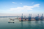 port of tianjin against a blue sky, China