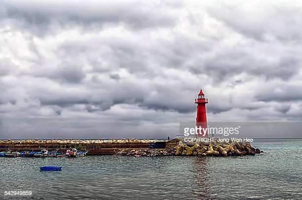 A port on a rainy day