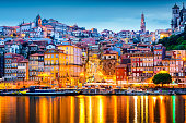 Porto, Portugal  old city skyline from across the Douro River.