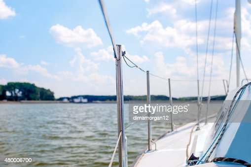 Port Side of Mid-Size Yacht Ready to Set Sail : Stock Photo