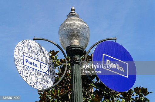 Port signs in Portugal : Stock Photo