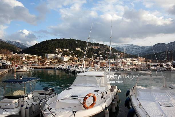 Port Soller in snow, Mallorca.