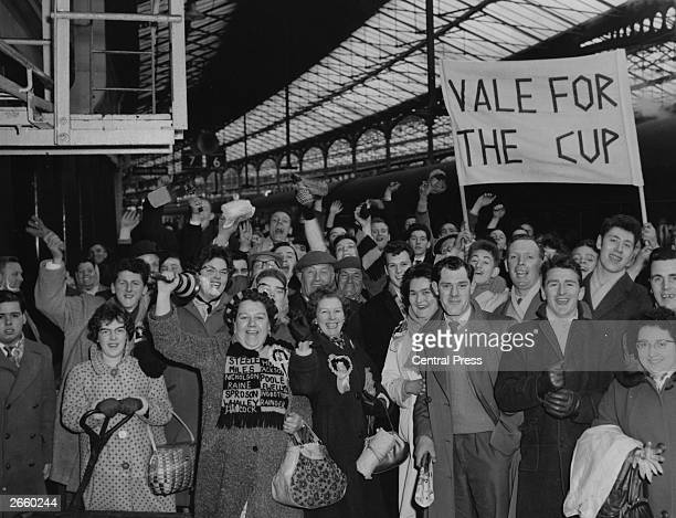 Port Vale supporters arrive at Euston Station London en route to Craven Cottage to watch their team play against Fulham in an FA Cup tie