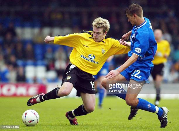 Port Vale's Steve McPhee takes on Oldham Athletic's Ryan Brown during the Nationwide Division Two match at Boundary Park Oldham THIS PICTURE CAN ONLY...