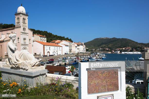 Port Vendres - church and old town with monument (Pyrenees-Orientales, France)