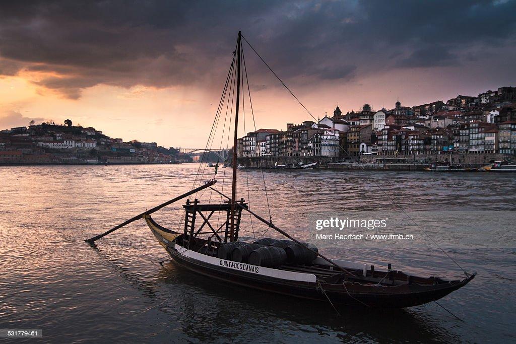 Port wine ship on Douro River