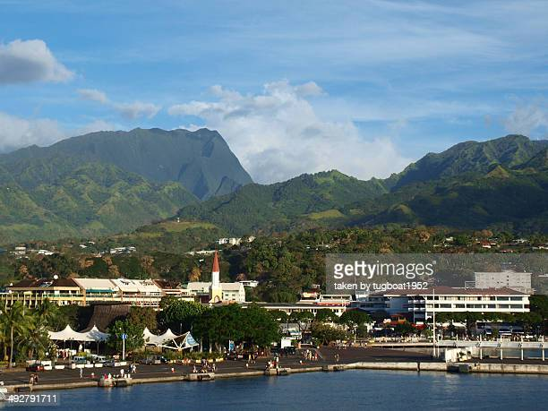 Port with mountains in background of Papeete