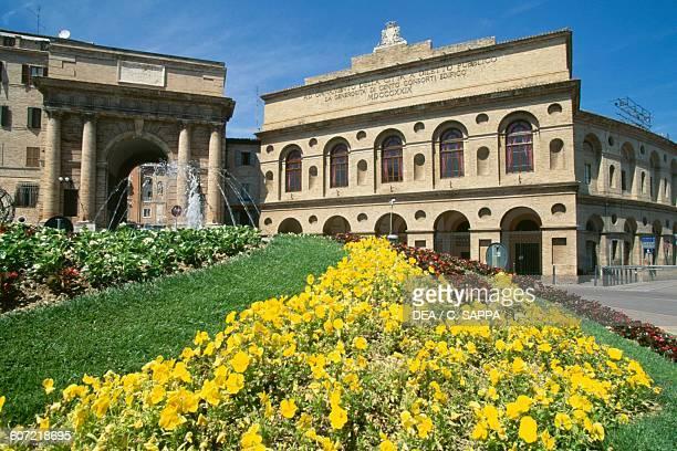 Porta Mercato and Sferisterio openair theatre Macerata Italy 19th century