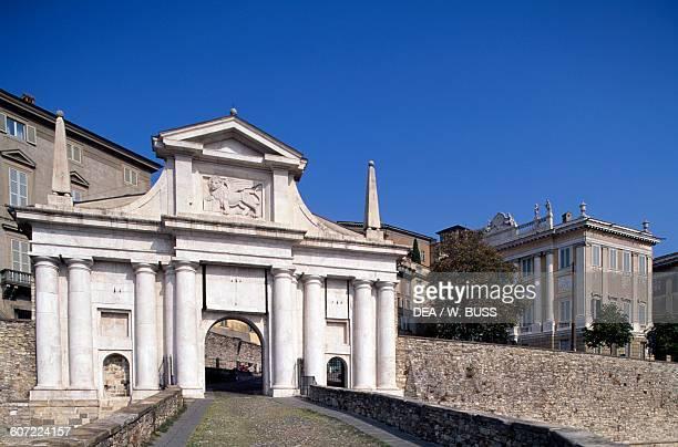 Porta San Giacomo city gate Venetian walls of the Citta Alta Bergamo Lombardy Italy