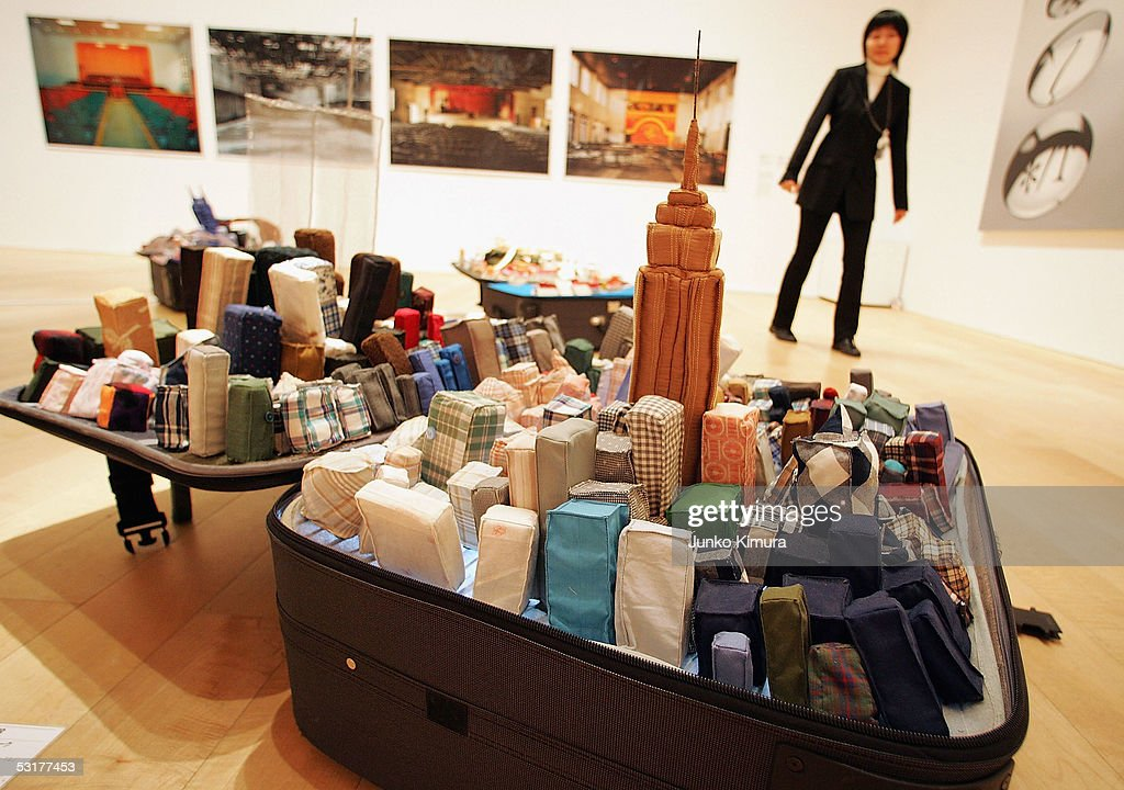 'Portabe City - New York' by Yin Xiuzhen, based on a suitcase, is seen during the exhibition 'Follow Me: Chinese Art at the Turn of the Millennium' held at Mori Art Museum on July 1, 2005 in Tokyo, Japan. The exhibition runs from July 2 to September 4.