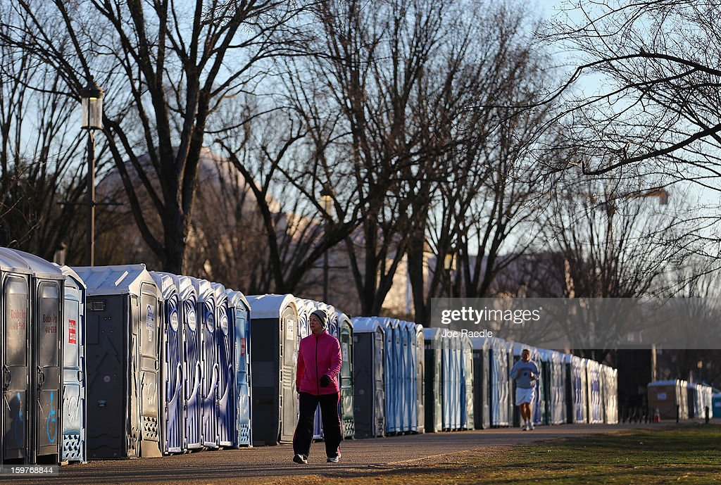 Portable bathrooms line the National Mall as preperations continue for the Presidential Inauguration on January 20, 2013 in Washington, DC. The US capital is preparing for the second inauguration of US President Barack Obama, which will take place on January 21.