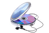 portable cd player on white background