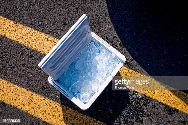 Portable cool box with ice