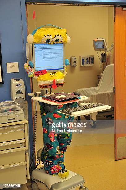 Portable electronic module used in the hospital dressed up like Spongebob Squarepants August 25 2009 Photo published in Dec 2009 issue of Bloomberg...