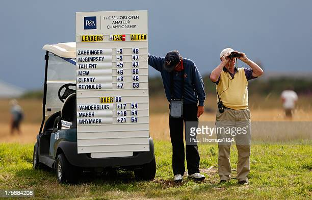 A portable fairway scoreboard is seen during the Seniors Open Amateur Championship at Royal Aberdeen on August 9 2013 in Aberdeen Scotland