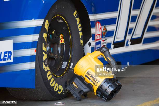 Portable fans are used to cool off the brake rotors at the Toyota/Save Mart 350 practice on June 23 2017 at Sonoma Raceway in Sonoma CA