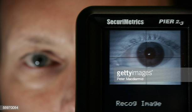 A portable iris scanner is displayed by Richard Agostinelli of SecuriMetrics at the Biometrics Conference and Exhibition at the Queen Elizabeth II...