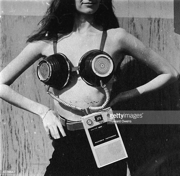 A portable musical stereo bra designed by Geoffrey Weston for Philip Garner's spoof 'Better Living Catalogue' published by Sidgwick and Jackson of...