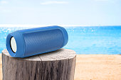 portable speaker on Stump table and sandy beach.