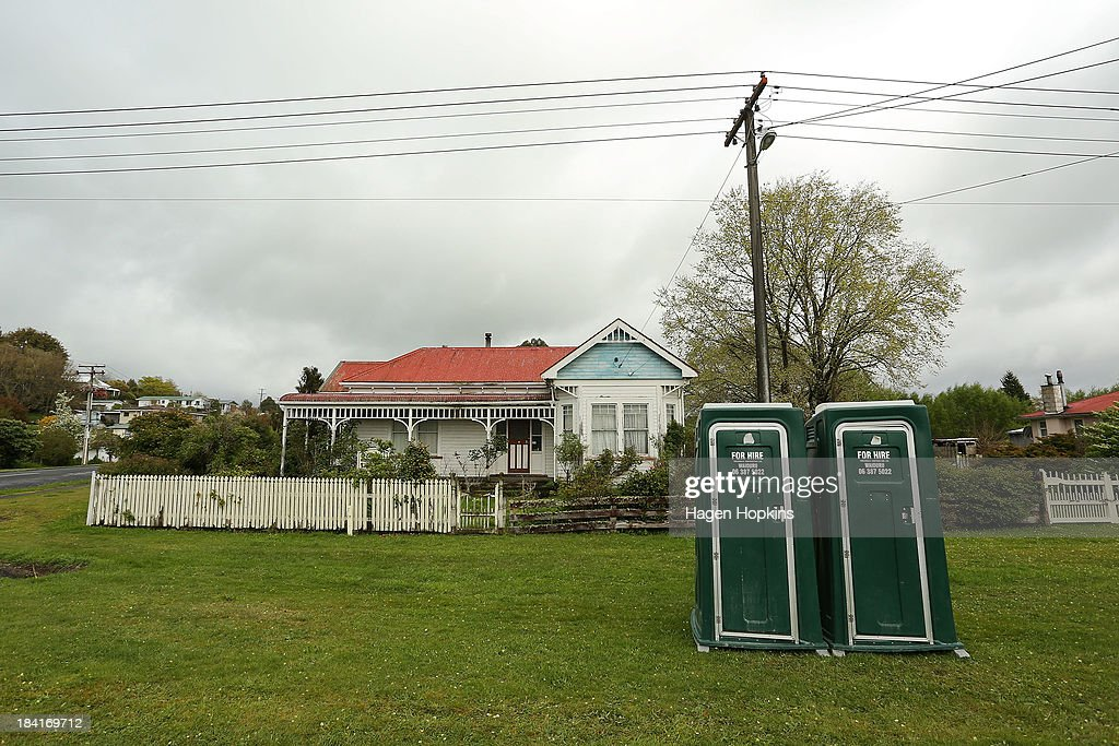 Portable toilets sit outside a residential property on October 12, 2013 in Raetihi, New Zealand. Work has begun to flush a stream contaminated by a large diesel spill at Tongariro National Park. A tank from the Turoa Ski Field has leaked 15,000 litres of diesel into the Makotuku stream.