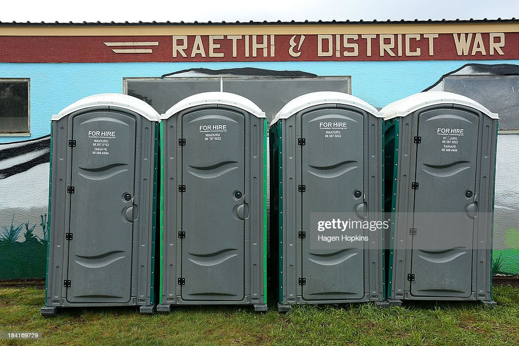 Portable toilets sit outside the Raetihi War Memorial on October 12, 2013 in Raetihi, New Zealand. Work has begun to flush a stream contaminated by a large diesel spill at Tongariro National Park. A tank from the Turoa Ski Field has leaked 15,000 litres of diesel into the Makotuku stream.