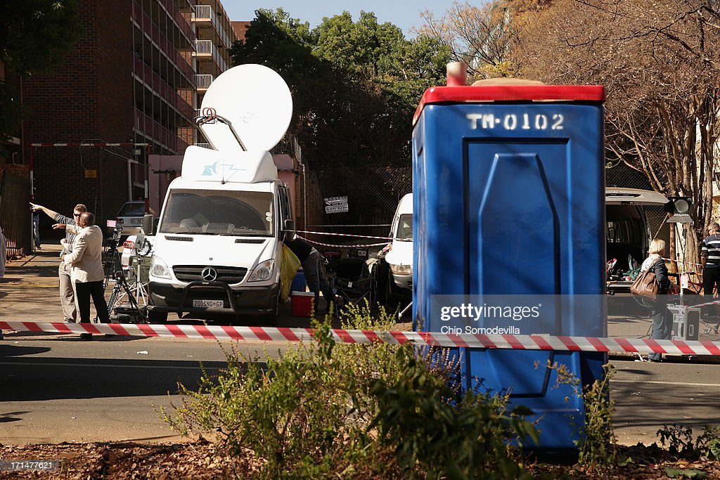 Portable toilets were delivered because of the growing number of journalists outside the Mediclinic Heart Hospital where former South African President Nelson Mandela is being treated June 25, 2013 in Pretoria, South Africa. South African President Jacob Zuma confirmed Sunday that Mandela's condition has become critical since he was admitted to the hospital over two weeks ago for a recurring lung infection.