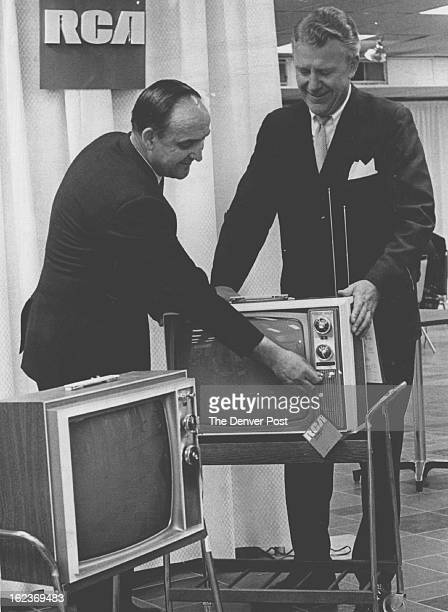 MAR 19 1969 MAR 20 1969 Portables in Preview Jim Failing left of Failing TV Greeley Colo and Wayne Kuykendall vice president of Ward Terry Co look...