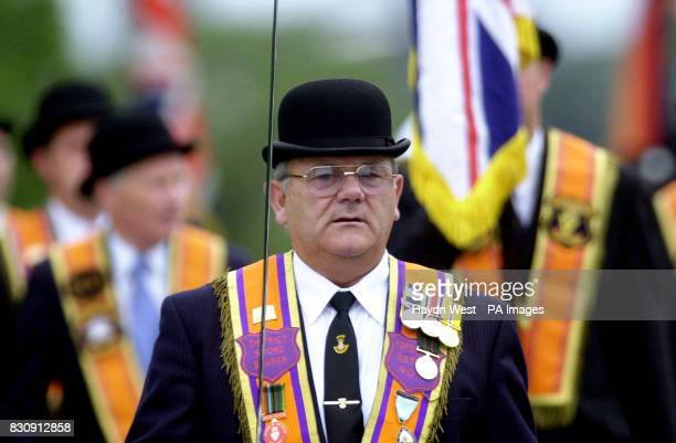 Portadown Orangemen march towards Drumcree Church Portadown in Northern Ireland following their Sunday church service Later trouble erupted at...
