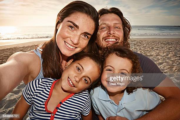Portait of family on beach
