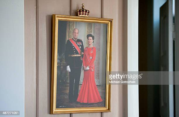 A portait of King Harald V of Norway and Queen Sonja of Norway hangs on the wall during a meeting of German Foreign Minister FrankWalter Steinmeier...