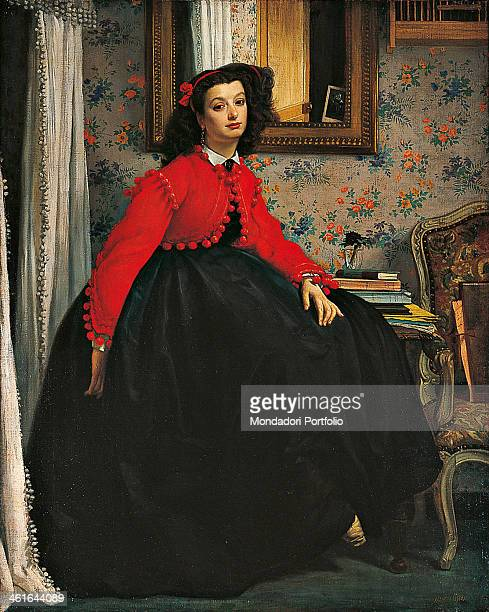 Portait of Ms L L by James Tissot 19th Century oil on canvas France Paris Musée d'Orsay Whole artwork view Portait of a young woman sitting in three...