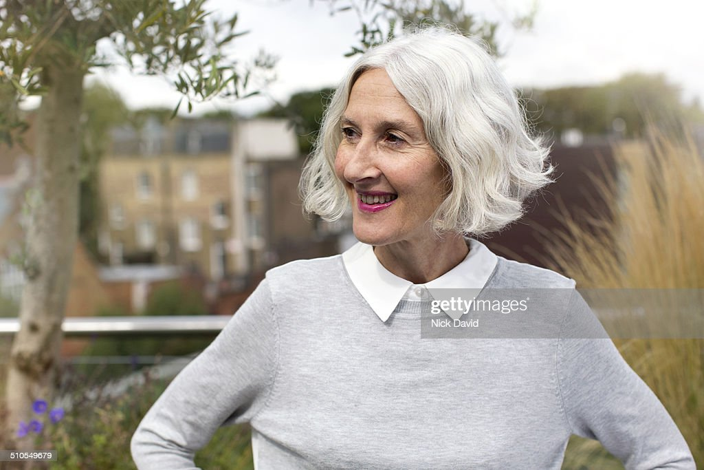 Portait of older woman silver hair