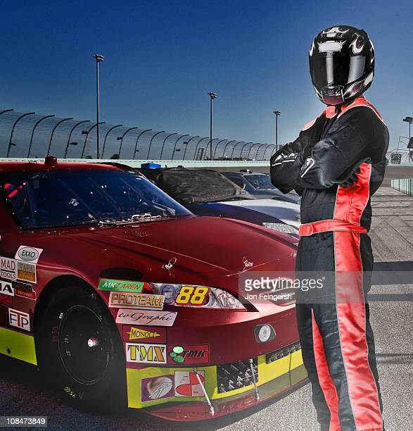Portait of Race Car Driver and Car