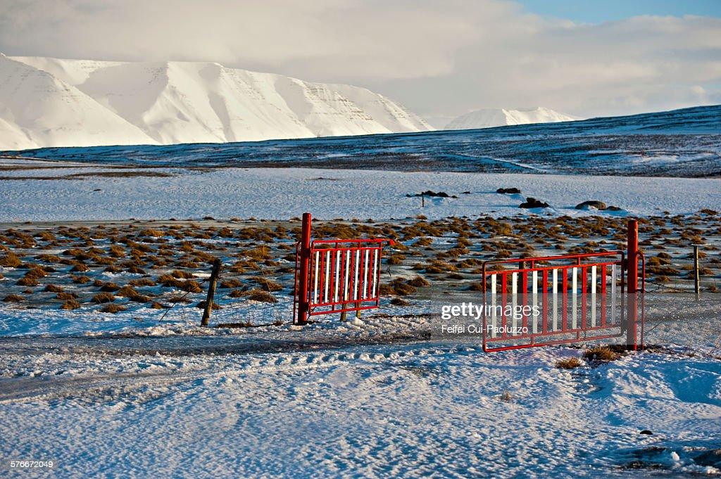 Portal and winter rural scene in Hofsos Iceland.