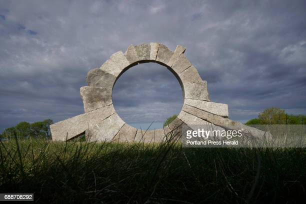 Portal by David Allen granite part of the Power of Place exhibit at Laudholm Farm in Wells photographed on Wednesday May 17 2017