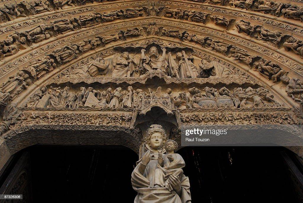 Portal sculptures and reliefs of Santa Maria de Leon Cathedral.